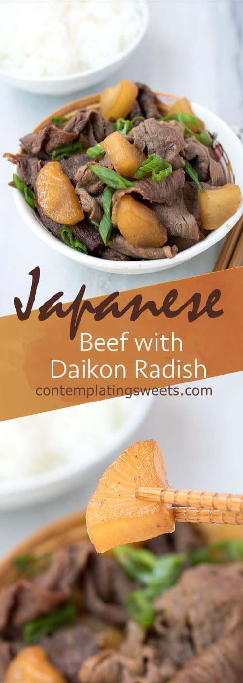 Beef with Daikon Radish is an easy Japanese weeknight meal. It's best if you make it ahead of time, so the daikon can soak up all the great flavors of the sauce.