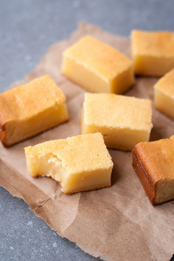 Butter Mochi - a classic Hawaiian treat made with coconut milk and mochiko (glutinous rice flour).