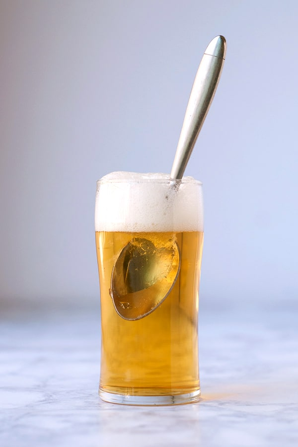 """Apple Jelly """"Beer""""- this non-alcoholic apply jelly """"beer"""" is made with just a few simple ingredients and looks JUST. LIKE. BEER. It is easy, fun, and quick to make."""