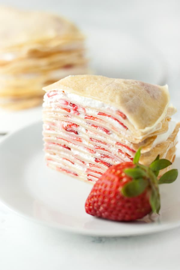 Strawberry Crepe Cake Contemplating Sweets