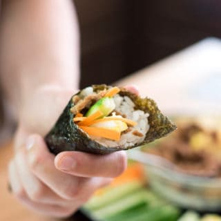 Canned tuna sushi hand rolls- Using canned tuna and veggies that you already have in the fridge makes this sushi super accessible! Canned tuna sushi is an easy and quick meal that is fun to customize!