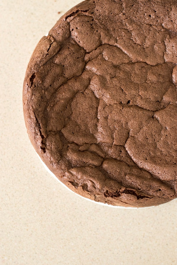 Top view of unsliced gluten free french chocolate cake, or gateau chocolat.