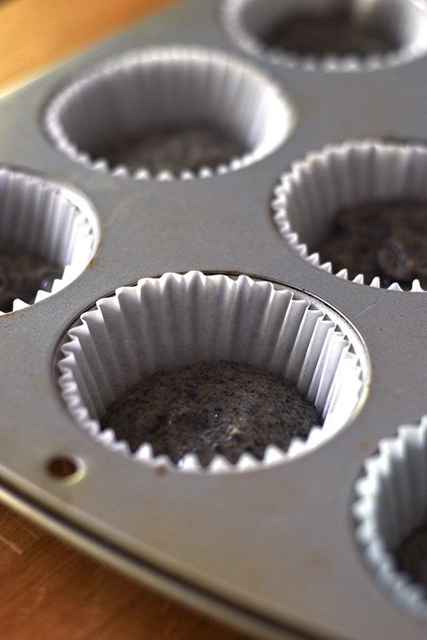 Black sesame cupcake batter ready to go in the oven.