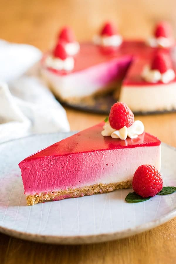 a slice of perfectly ombre cheesecake.
